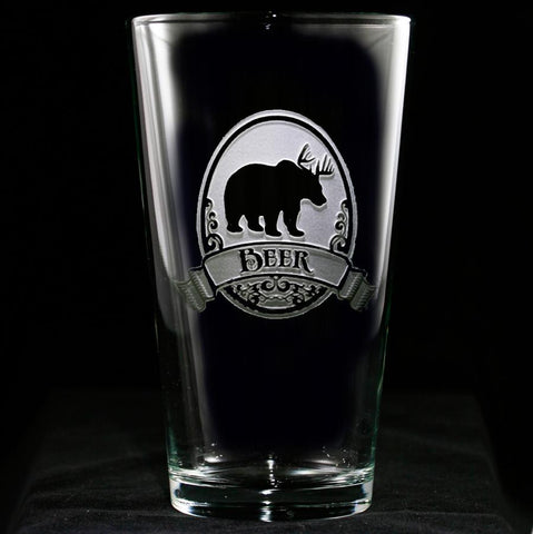 Engraved Bear+Deer Pub Pint Beer Glass