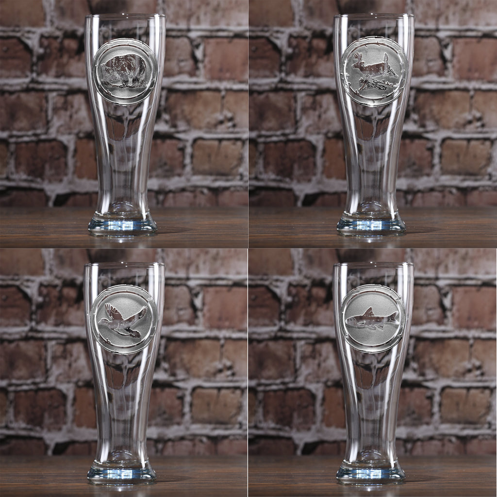 Woodlands Animals Pilsner Glasses