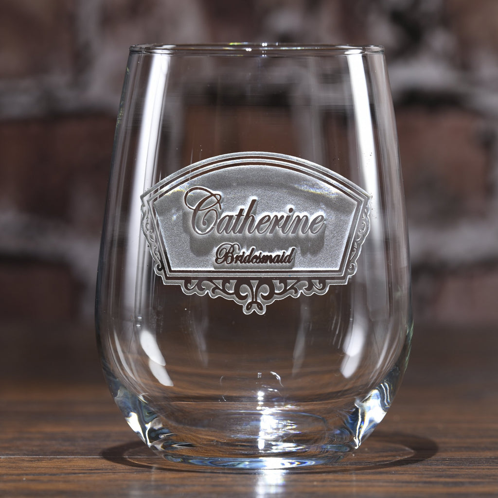 Bridesmaid Gift Stemless Wine Glass