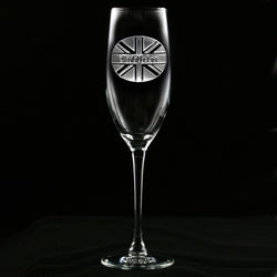 British Flag Engraved Personalized Champagne Flute