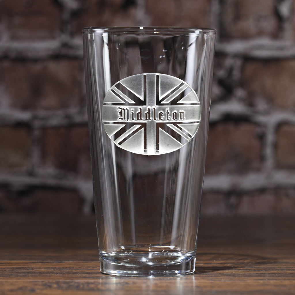 British Flag Monogram Pub Glass