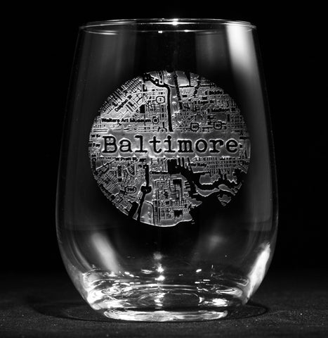 Street Maps Stemless Wine Glass *NOTE: ONE CITY PER COMPLETED ORDER