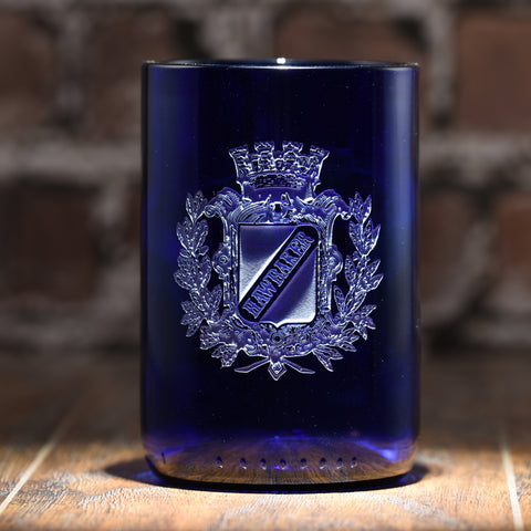 Family Crest Blue Recycle Wine Bottle Glass Tumbler