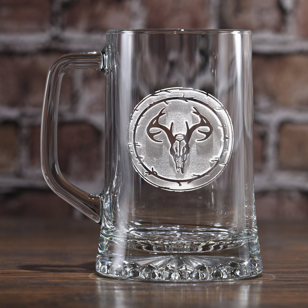 Engraved Deer Skull Antlers Beer Mug. European Mount