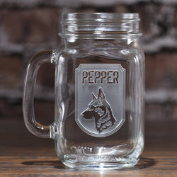 Dog lovers gifts, personalized engraved dog breed mason jar glass mug. Man's best friend gifts.