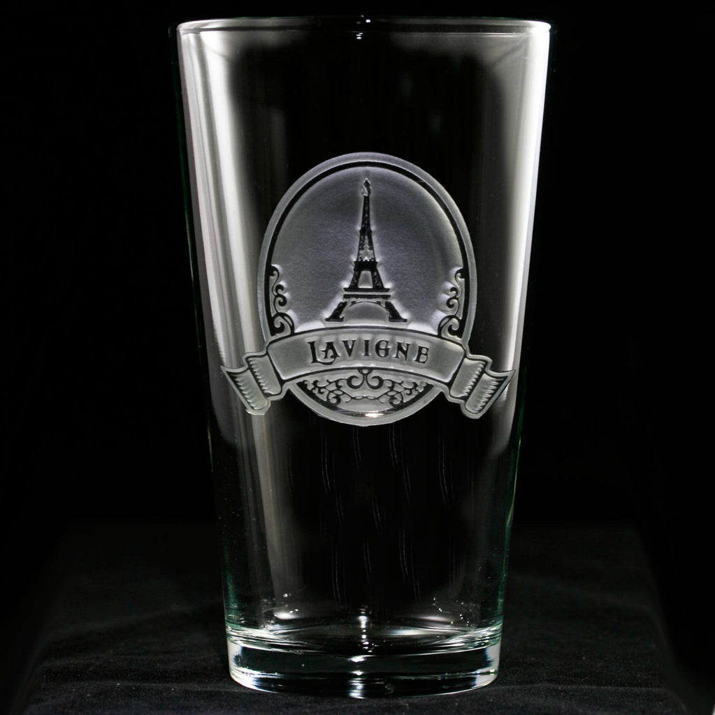 Eiffel Tower Engraved Pub Pint Glass