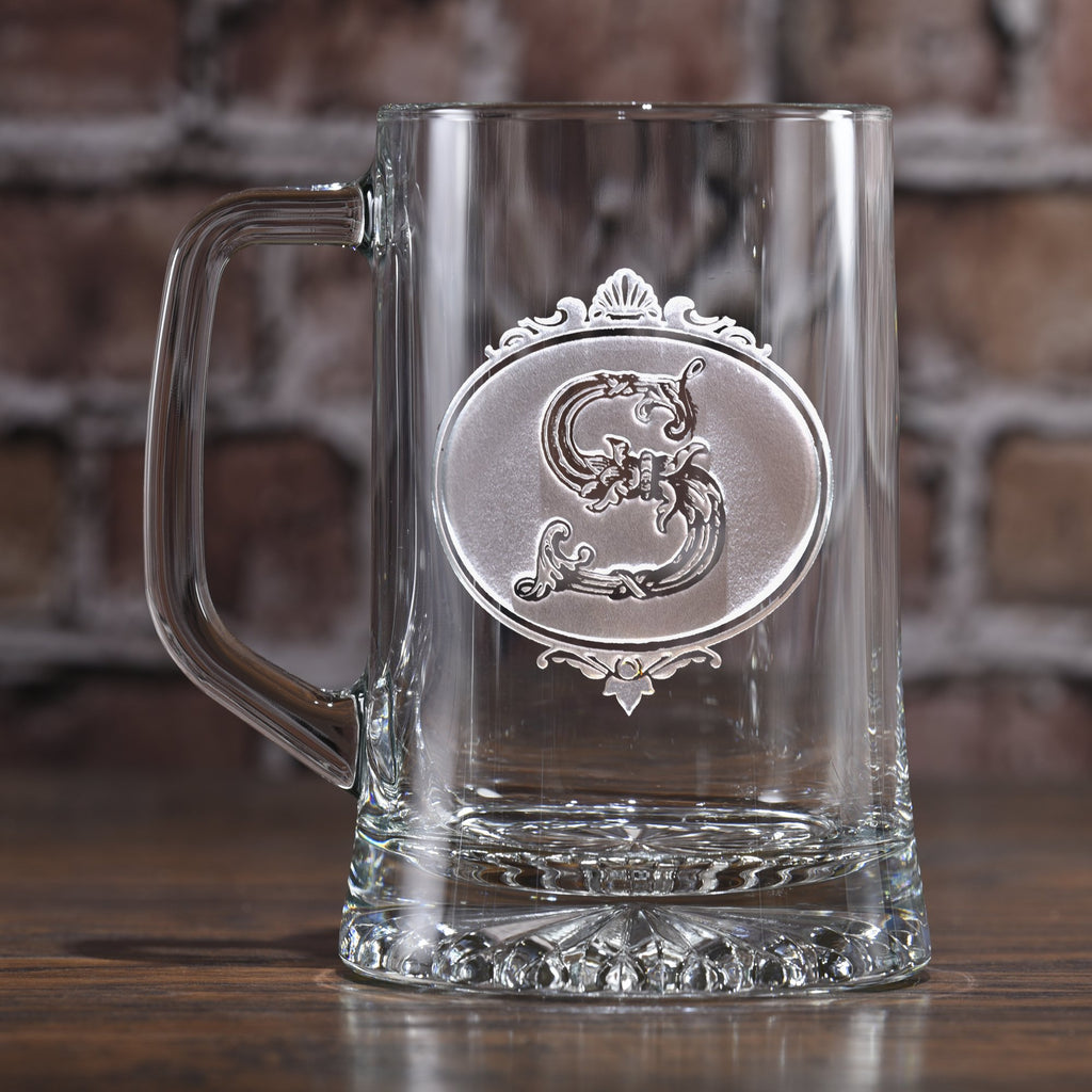 Monogrammed Initial Engraved Beer Glass Mug