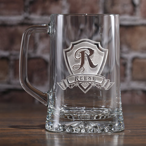 Personalized Shield and Banner Engraved Beer Glass Mugs