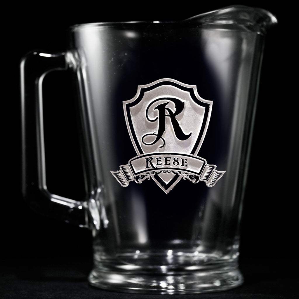 Engraved Personalized Shield Beer Pitcher
