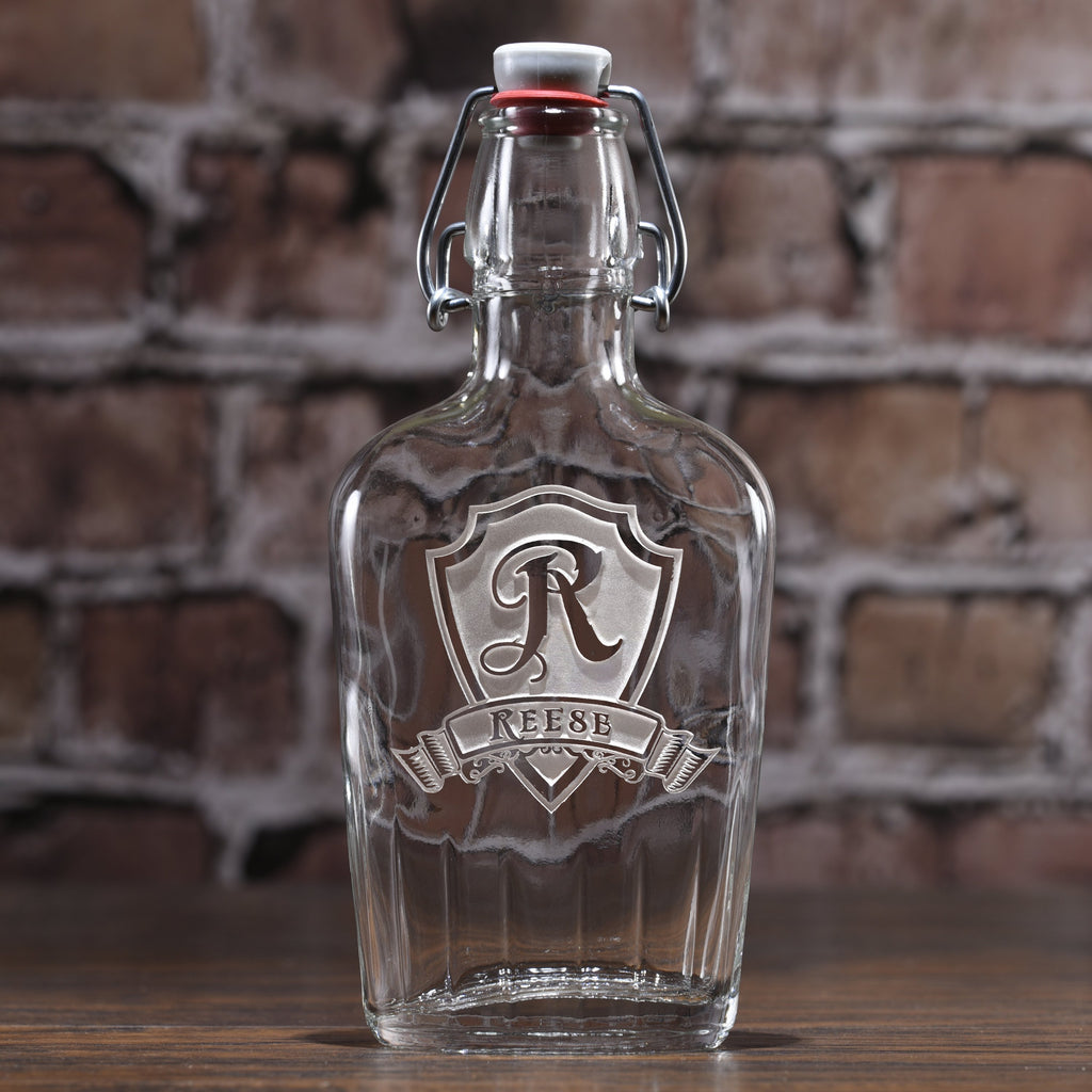 personalized flask gifts engraved glass hip flasks crystal imagery