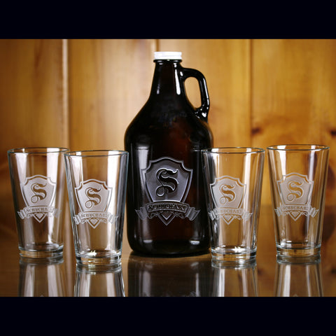 Beer Growler. Pint Pub Glass Set