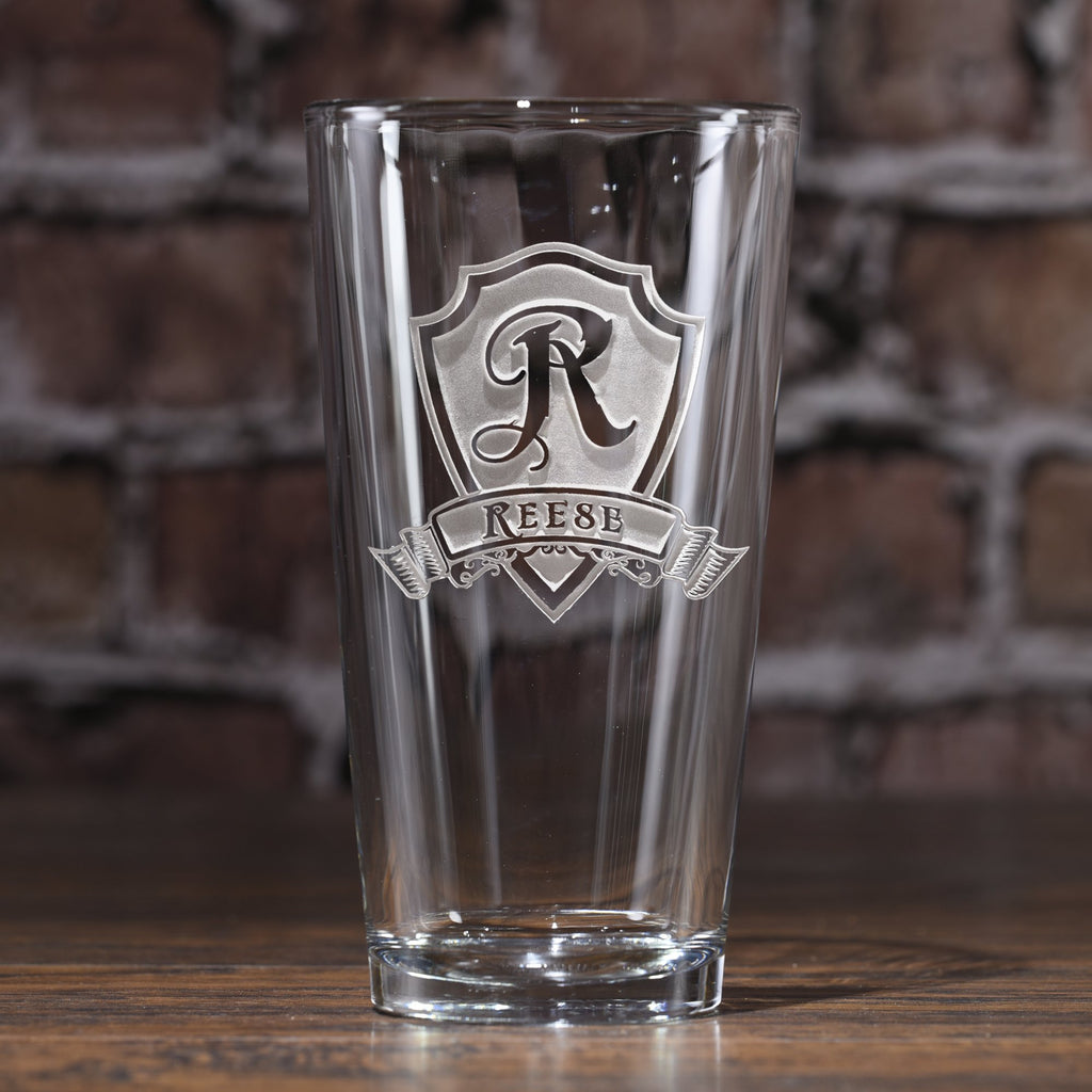 Monogram Shield Pub Glass