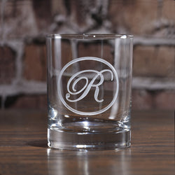 Edwardian Script Engraved Scotch Whiskey Bourbon Glass