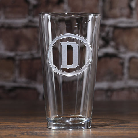 Monogram Pint Pub Water. Beer Glass