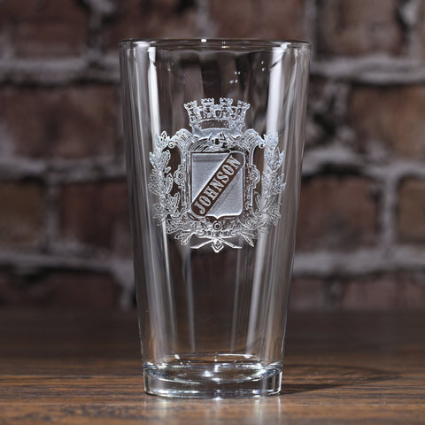 Engraved Personalized Crest Pint Pub Glass