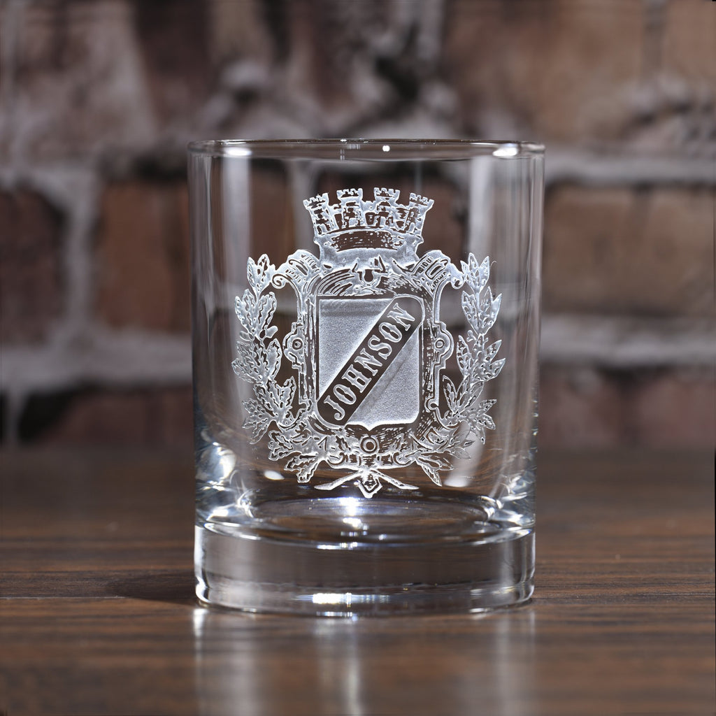 Engraved Family Crest. Coat of Arms Whiskey Glass