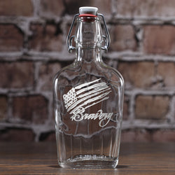 Bravery Flag Stars and Stripes Engraved Flask Gift for Men
