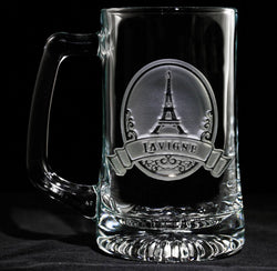 Eiffel Tower Engraved Personalized Beer Mug