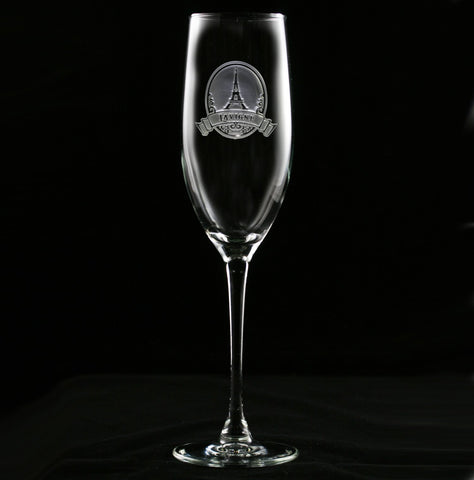 Eiffel Tower Engraved Champagne Flute Glass
