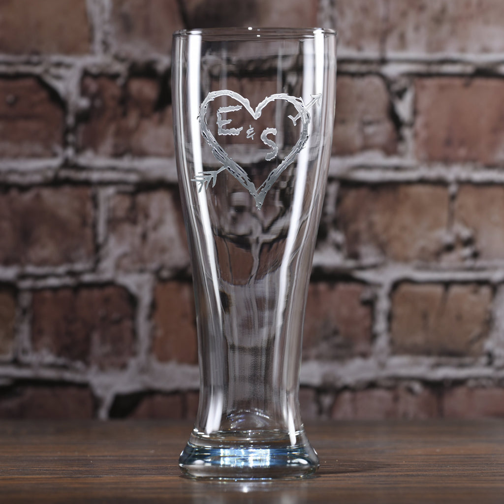 Pilsner Beer Glass. Heart and Arrow