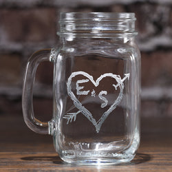 Heart and Initials Mason Jar Mug