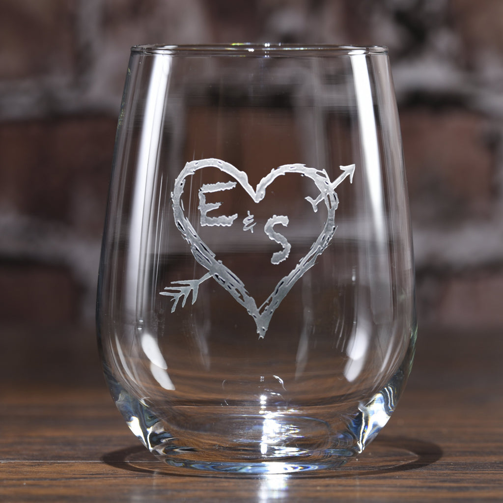 Carved Initials in Heart Stemless Wine Glass