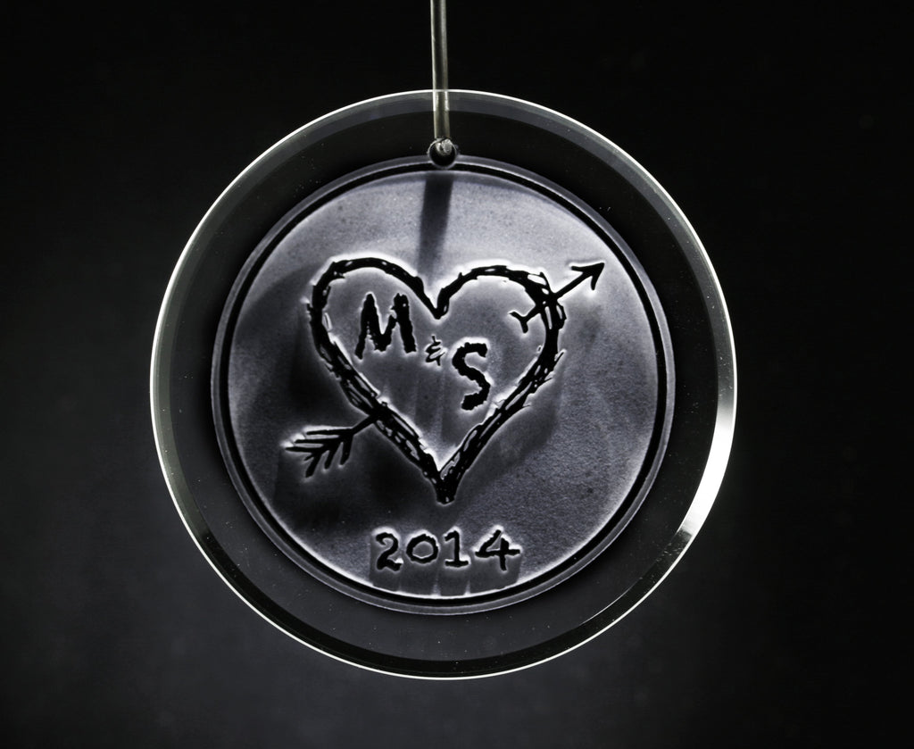 Engraved Heart and Initials Ornament