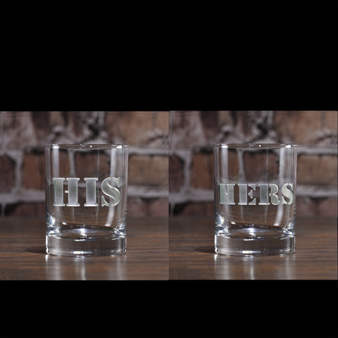 His and Hers Whiskey Scotch Glasses. Engraved