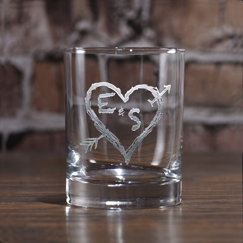 Engraved Initials in Heart Whiskey Scotch Glass