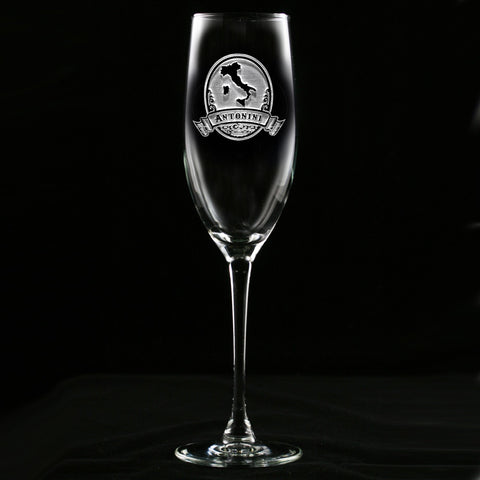 Engraved Italian Champagne Glass Flute