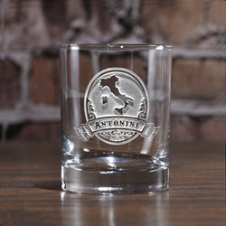 Engraved Italian Whiskey Scotch Glass