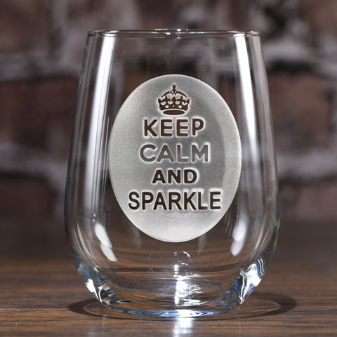Keep Calm and Sparkle Stemless Wine Glasses