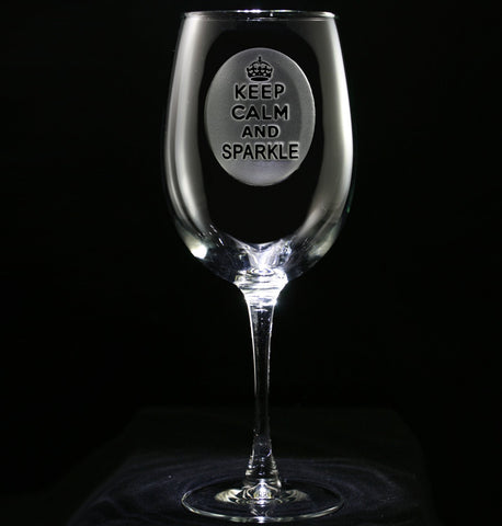 Keep Calm and Sparkle Wine Glass
