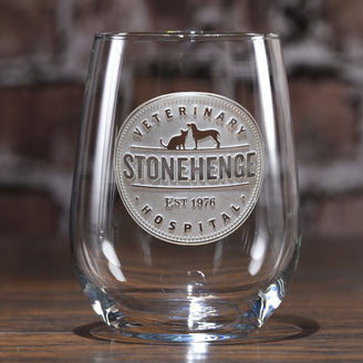 Logo Engraved Stemless Wine Glasses
