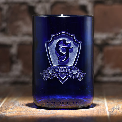 Cobalt Blue Recycle Wine Bottle Glass, Engraved Tumbler