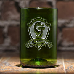 Green Recycle Wine Bottle Glass, Engraved Tumbler