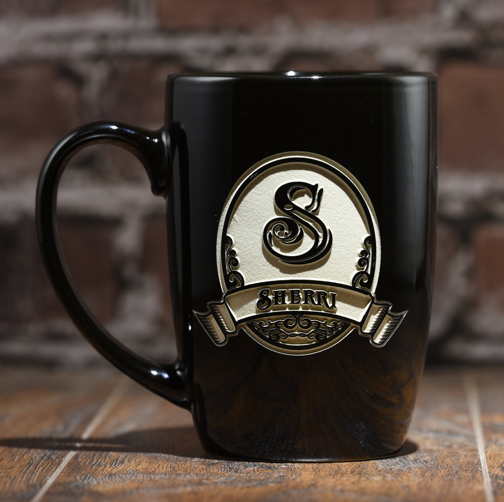 Personalized Engraved Ceramic Coffee Mugs Crystal Imagery