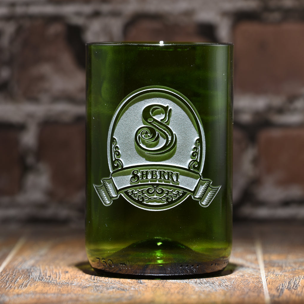 Engraved Green Recycled Wine Bottle Glass Tumbler