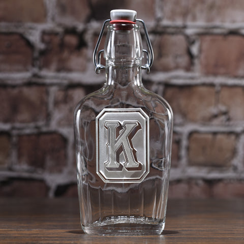 Monogram Full Emerald Design Flask