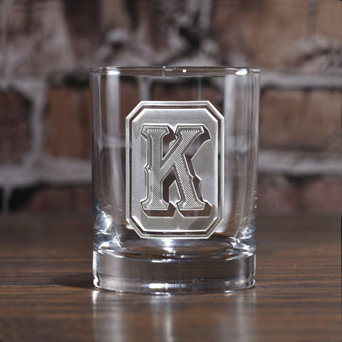 Monogram Full Emerald Design Whiskey Glass