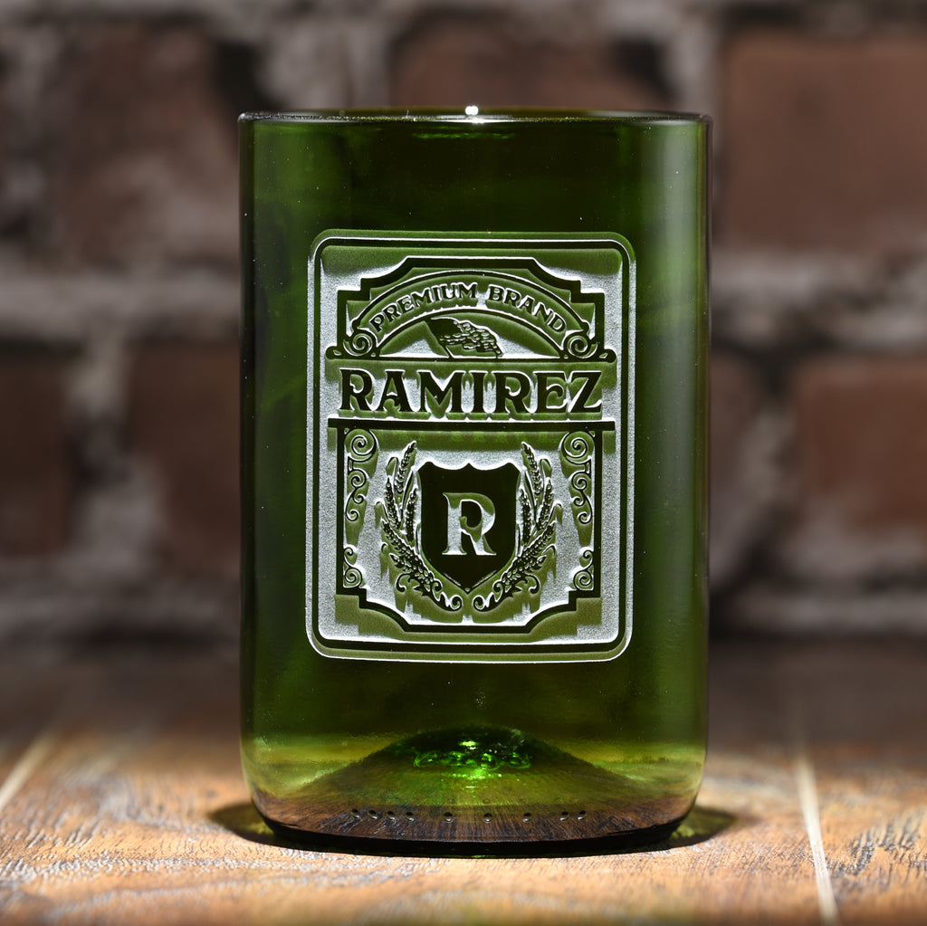 Personalized Label Green Recycle Wine Bottle Glass Tumbler