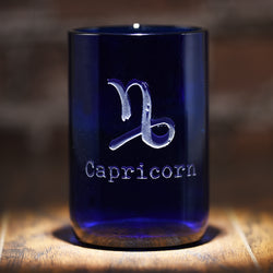 Zodiac Sign Engraved Blue Recycled Wine Bottle Glass