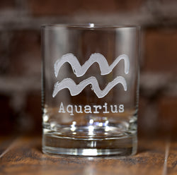 Zodiac Sign Engraved DOF Rocks Whiskey Glass