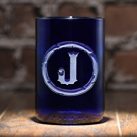Initial Engraved Blue Recycled Wine Bottle Glass Tumbler