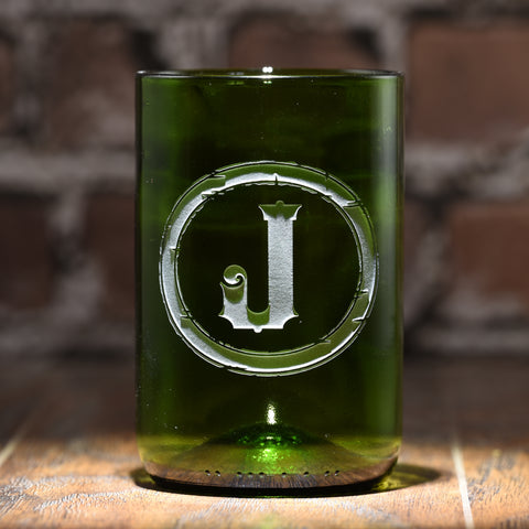 Initial Engraved Green Recycled Wine Bottle Glass Tumbler