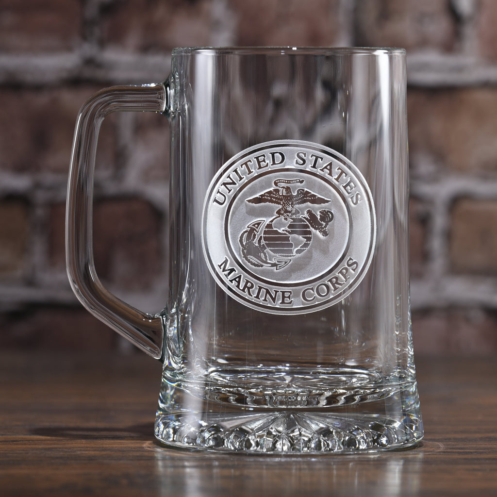 Etched Beer Mugs With Marine Corp Seal Marine Corps Military Gifts