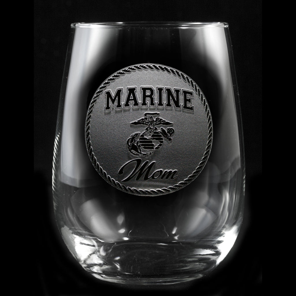 Marine Moms Stemless Wine Glass