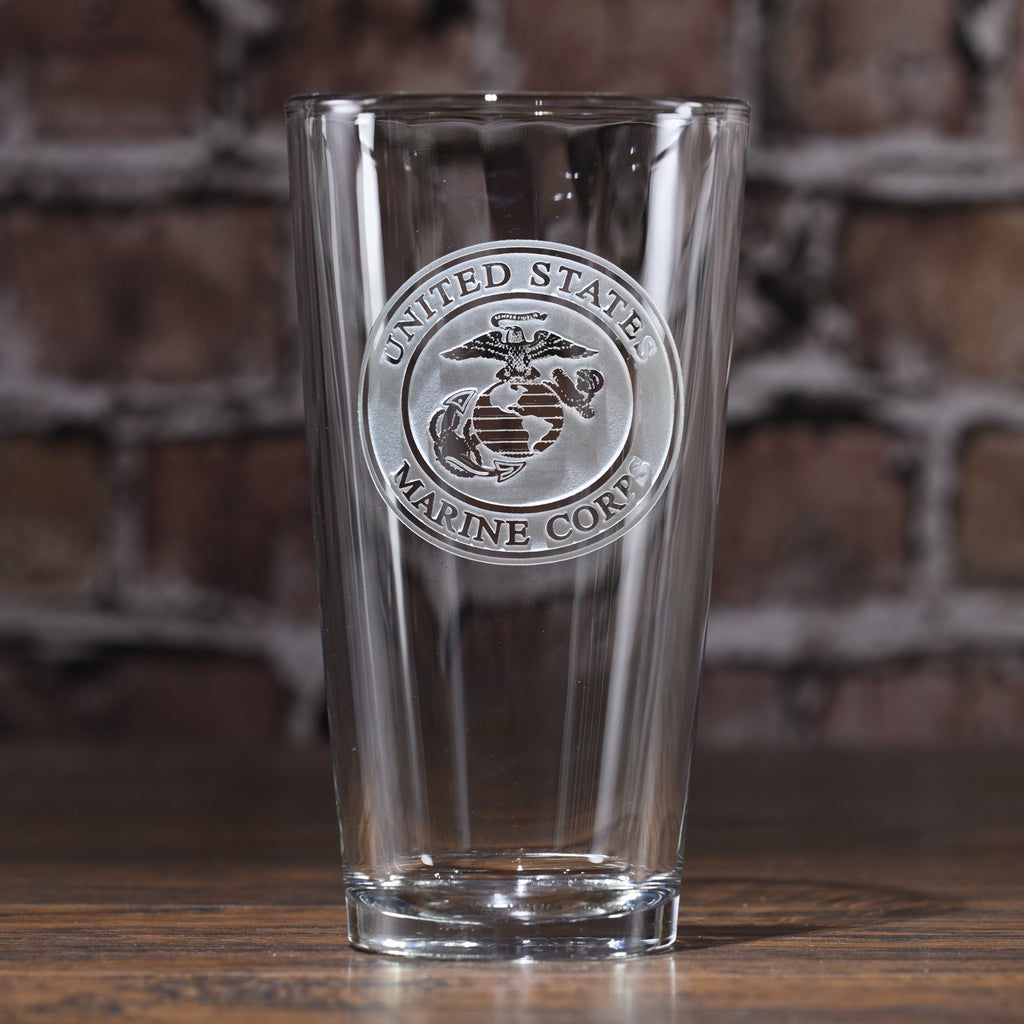 Engraved Marines Pub Pint Beer Glasses