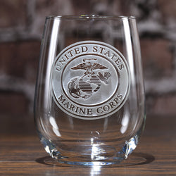 Engraved Marines Stemless Wine Glasses