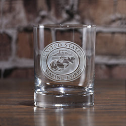 Engraved Marines Whiskey Scotch Bourbon Glasses
